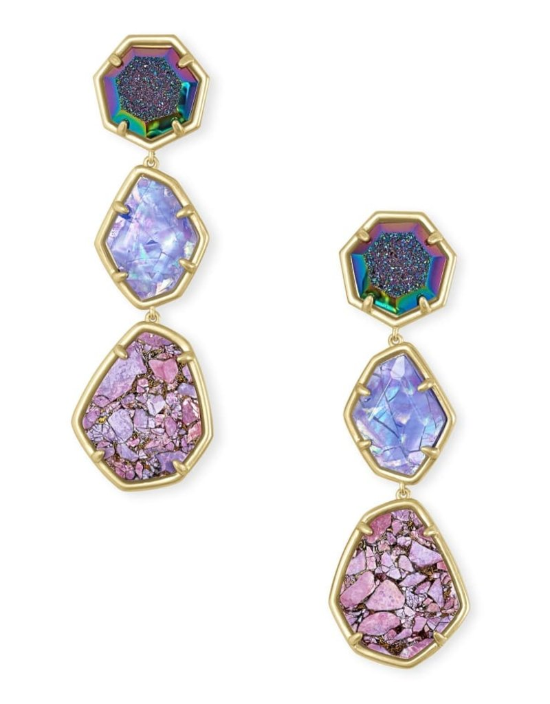 KENDRA SCOTT Nina Clip On Gold Linear Earrings In Purple Mix