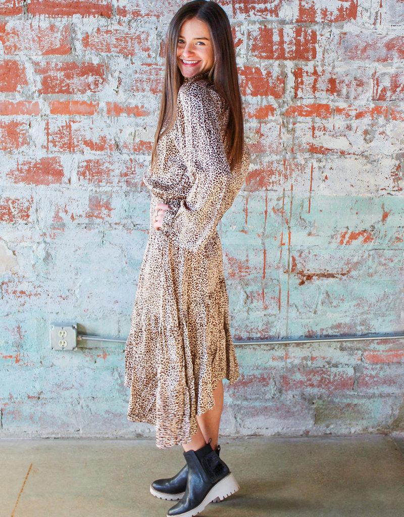 KARLIE Manda Smocked Leopard Midi Dress