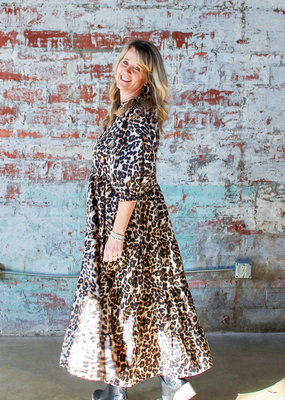 KARLIE Jill Tiered Leopard Midi Dress