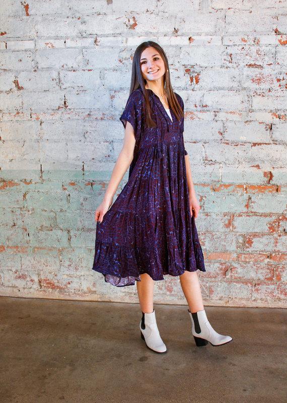 KARLIE Tana Leopard Midi Dress