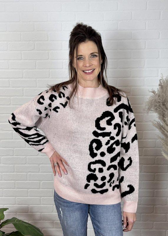 J. Hoffman Blushing Animal Print Sweater