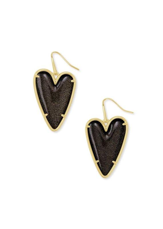 KENDRA SCOTT Ansley Heart Gold Drop Earrings
