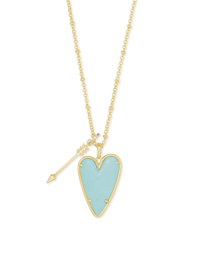 KENDRA SCOTT Ansley Heart Gold Long Pendant Necklace