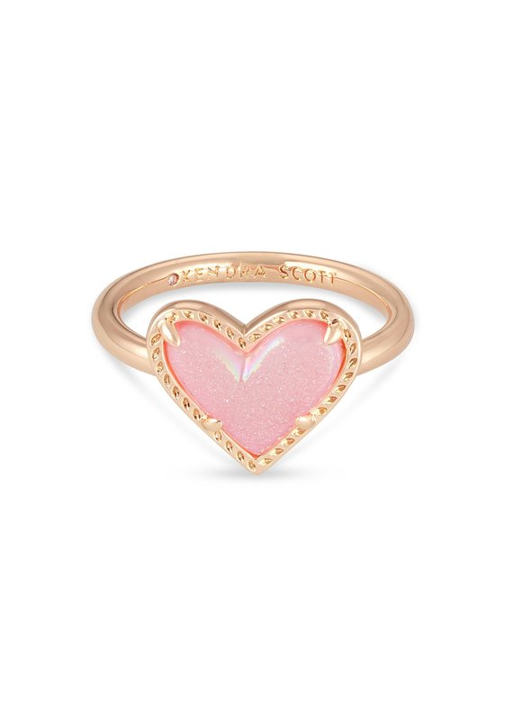 KENDRA SCOTT Ari Heart Rose Gold Band Ring