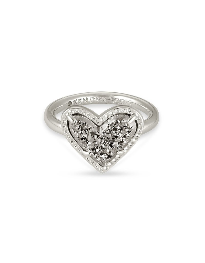KENDRA SCOTT Ari Heart Silver Band Ring