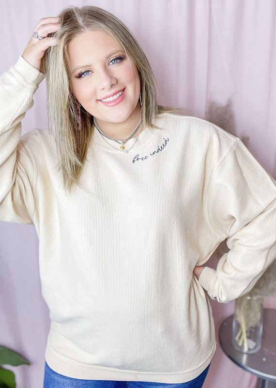 THE LIGHT BLONDE Free Indeed Corded Pullover