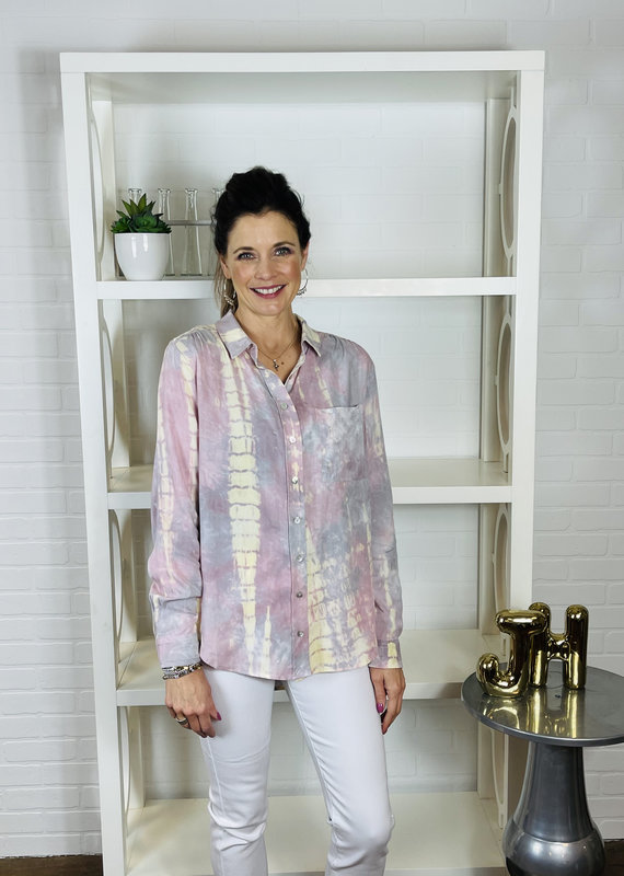 KLD SIGNATURE Luna Button Down Tie Dye Shirt