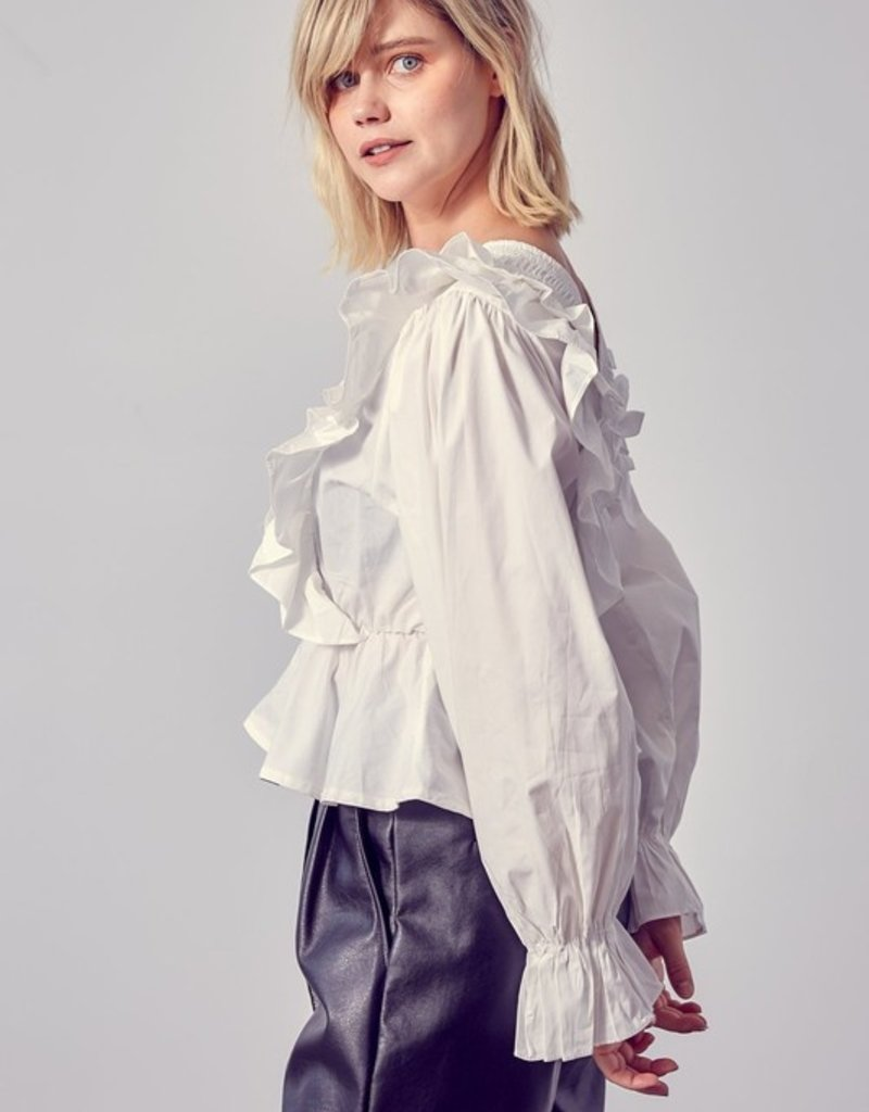 Dessin Studio Shea Frilled Long Sleeve Top