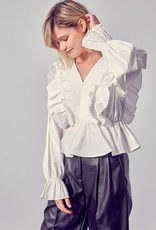 Dessin Studio Shea Frilled Long Sleeve Top