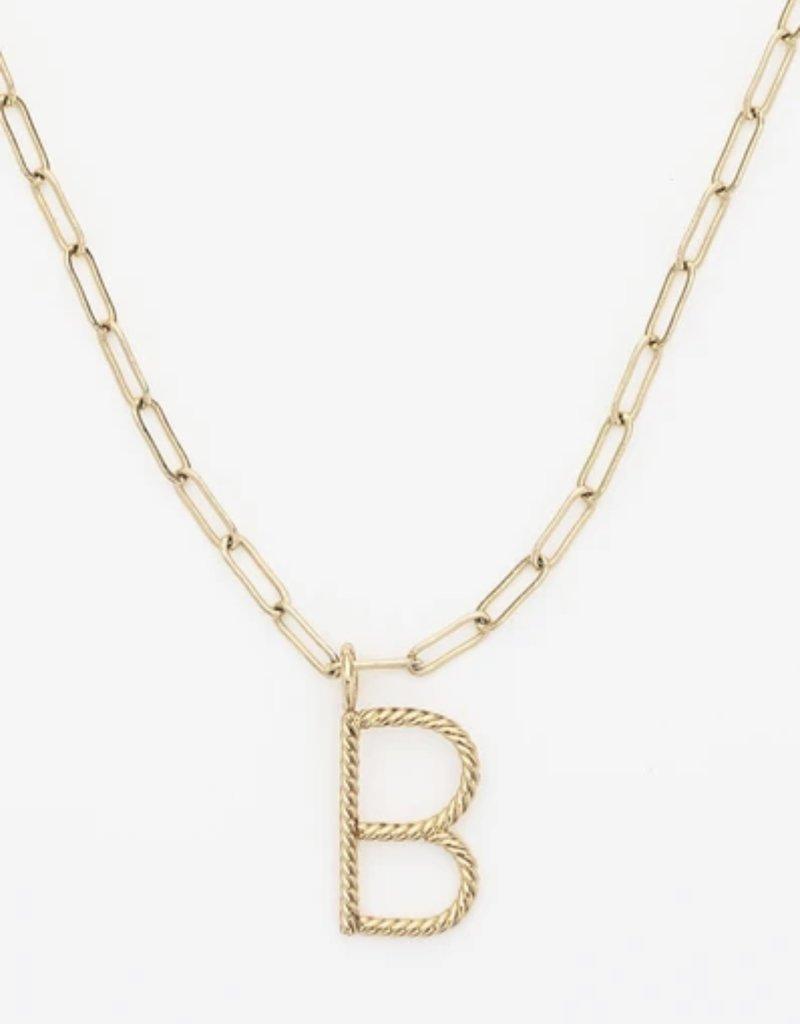 BRENDA GRANDS Aspen Initial Paper Clip Necklace