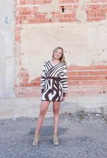 PETALROZ Zebra Wrap Sweater Dress
