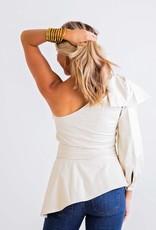 KARLIE Pleather One Shoulder Top