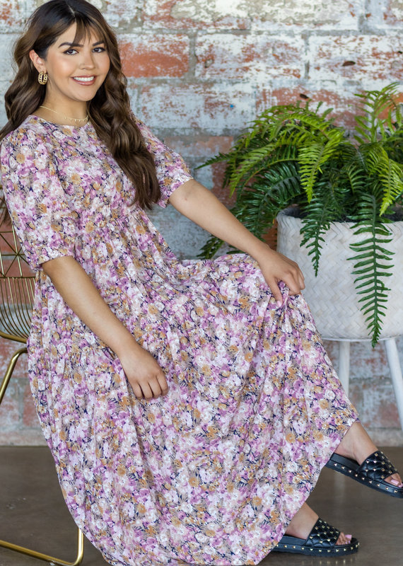 EN SAISON Sandi Floral Tiered Midi Dress