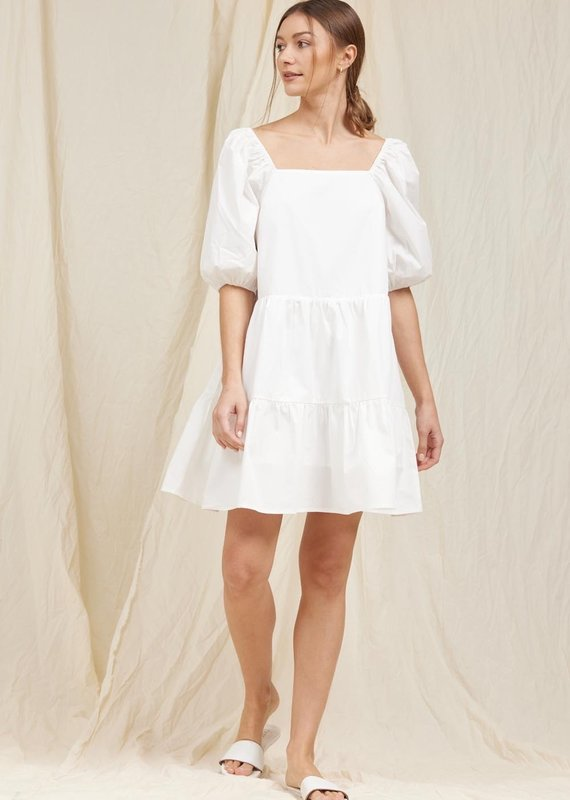 MOODIE Pure White Poplin Dress