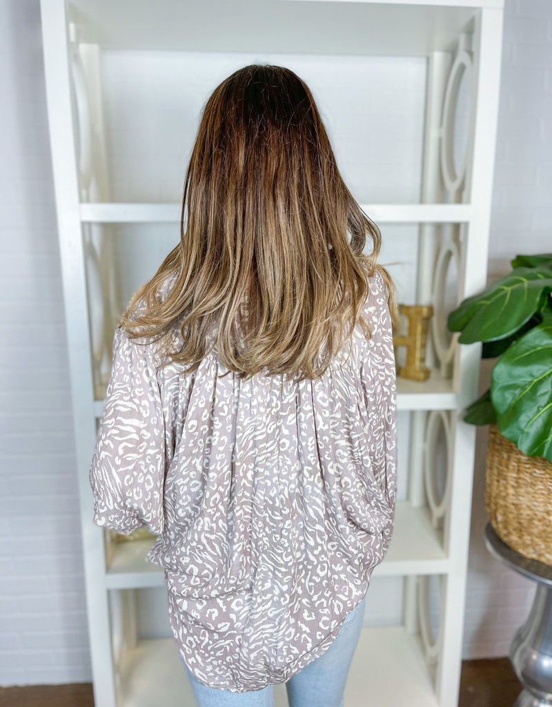 BY TOGETHER Ada Gauze Leopard Print Top