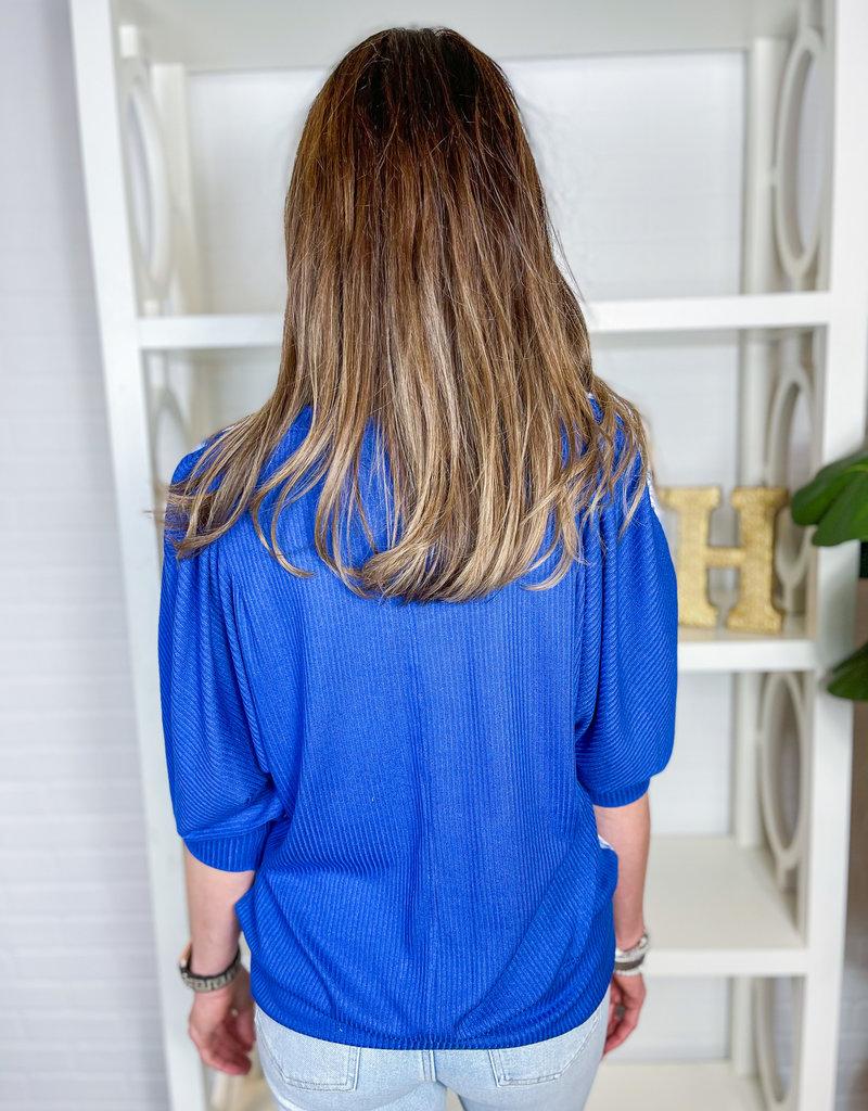 NALLY & MILLIE Blue Fern Gathered ShoulderTop