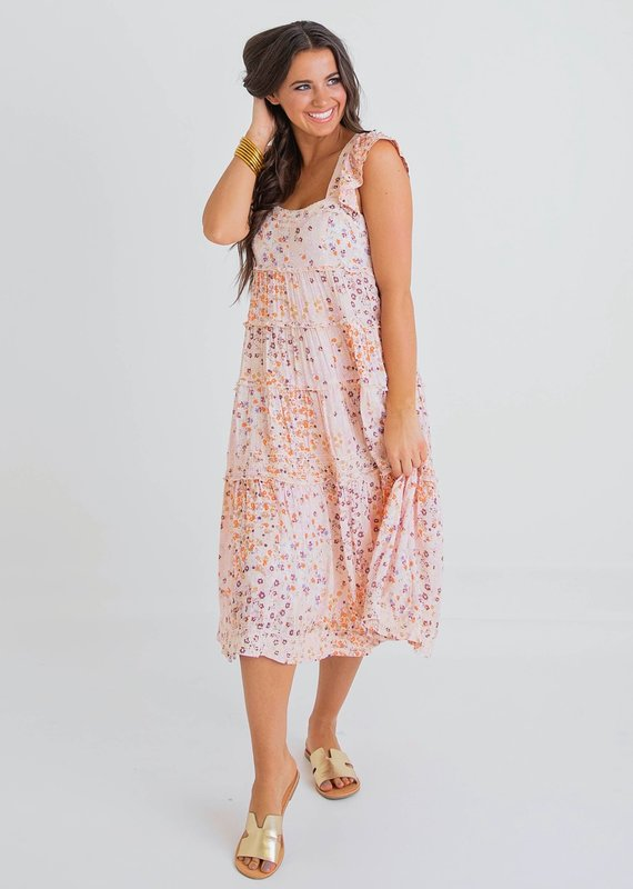KARLIE Its Spring Swiss Dot Tiered Sun Dress