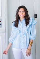 KARLIE Out of the Blue Ruffle Top