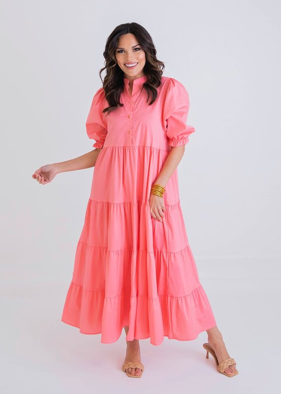 KARLIE Alena Coral Tiered Dress