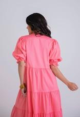 KARLIE Alena Coral Tiered Dress