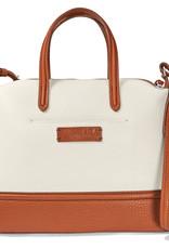Audrey Satchel cognac/white