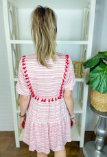 JOY JOY Candy Stripe Tassle Tiered Dress