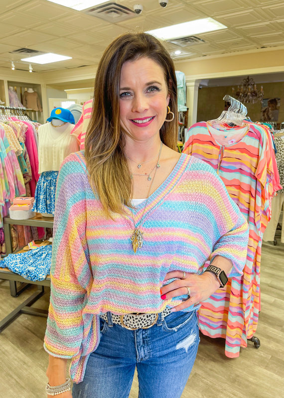 POL Pastel Rainbow Sweater