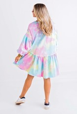 KARLIE Rainbow Serbet Tie Dye Ruffle Dress