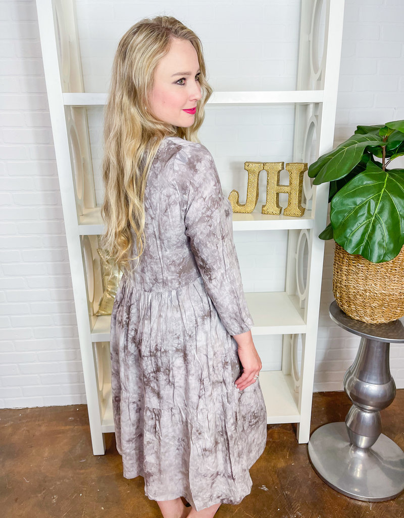 Grade & Gather Dried Orchid Tie Dye Tiered Dress
