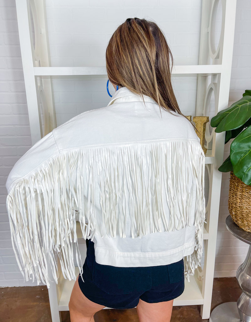 LE LIS Fringed Faux Leather Jacket