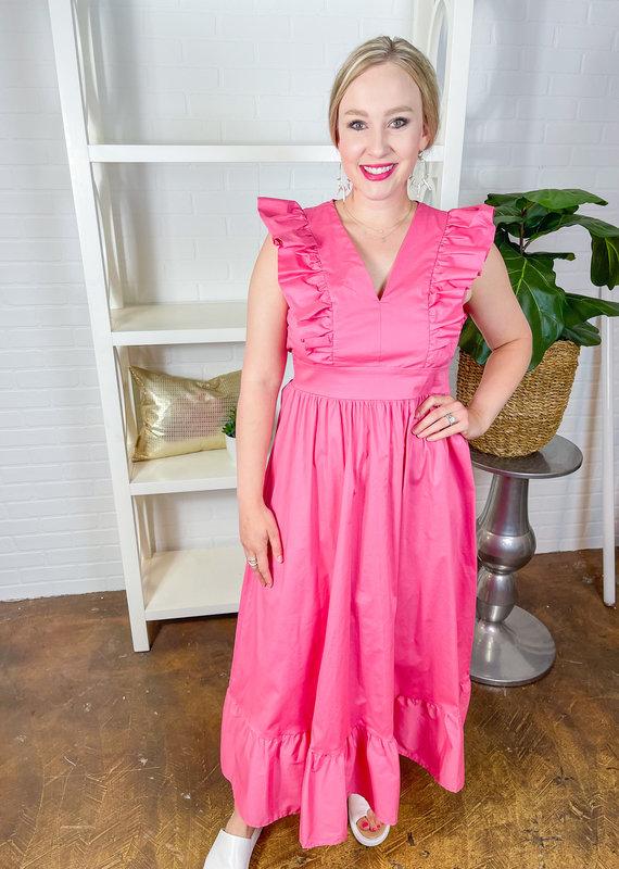 KARLIE Everything is Rosy Poplin Maxi Dress
