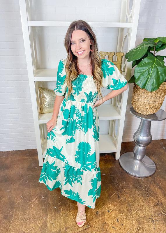 SUNDAYUP Zen Garden Puff Shoulder Dress