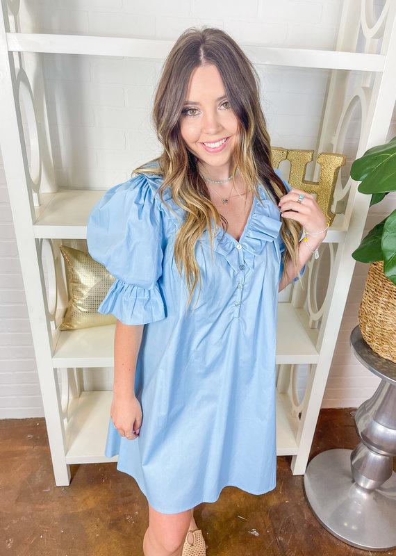 KARLIE Aruba Poplin Ruffled Sleeve Dress