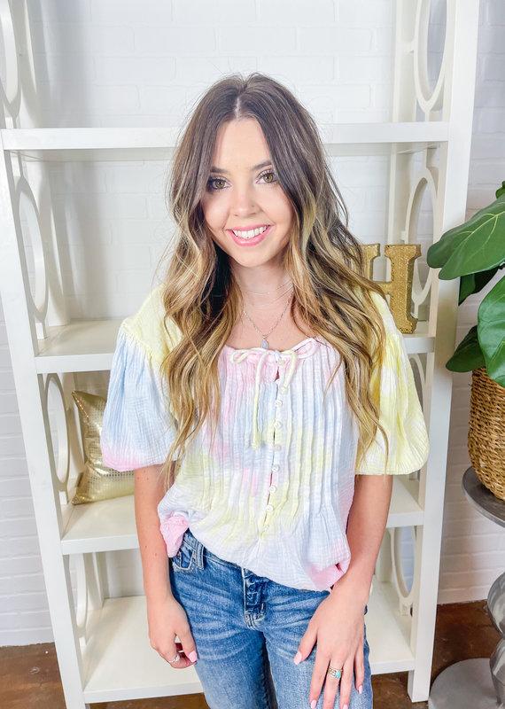 KARLIE Rainbow Gauze Pintuck Top