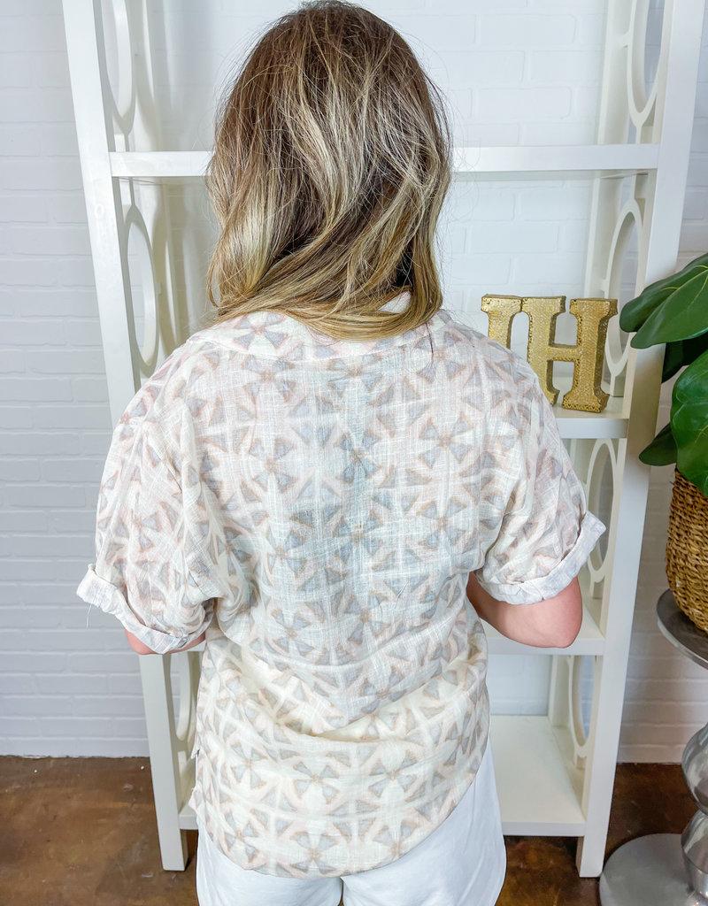 KARLIE Geometric Linen V-neck Top