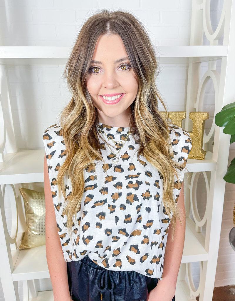 KARLIE Leopard Shoulder Pad Tank