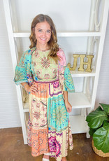 BEULAH Minnie's Patchwork Midi Dress