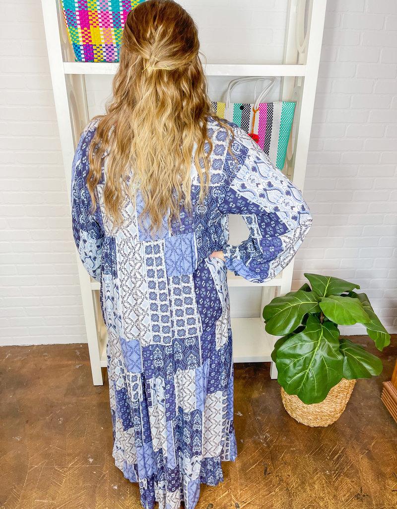 DRESS FORUM Echo Patchwork Tiered Boho Dress