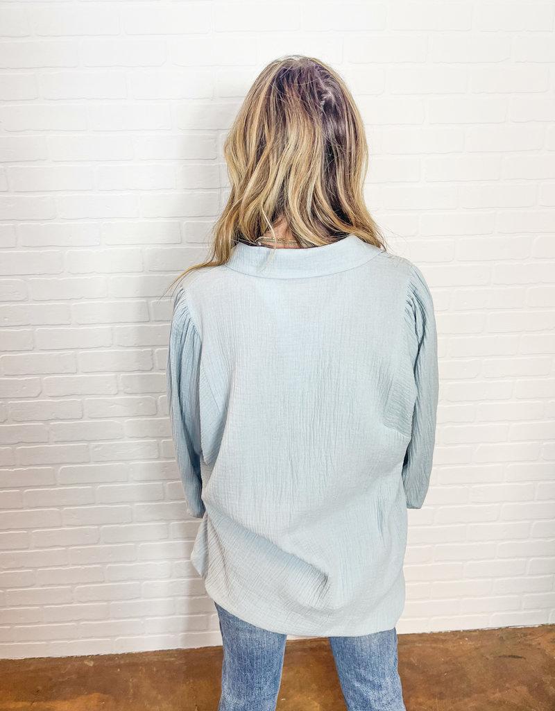 SWEET GENERIS Elita Gauze Button Down Puff Sleeve Top
