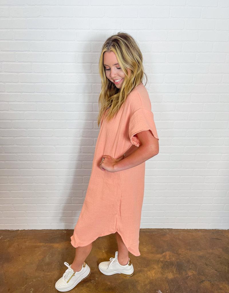 PHIL LOVE Simply Gauze Button Down Dress