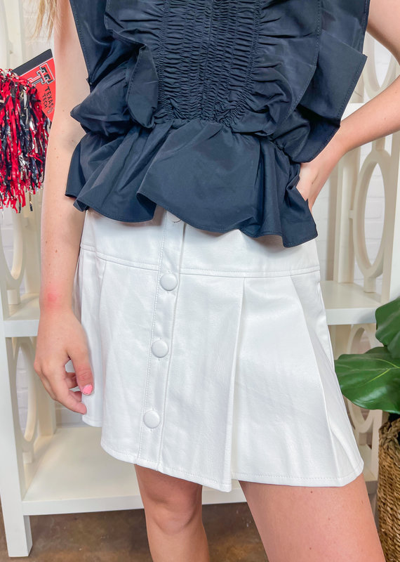 LE LIS Pleather Pleated Button-up Skirt
