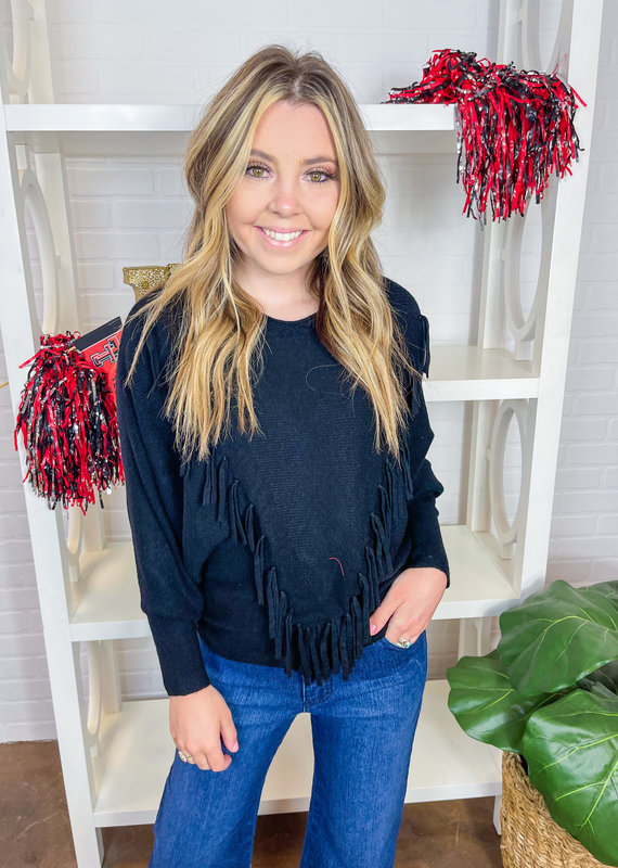 JADE On the Fringe  Pullover Sweater