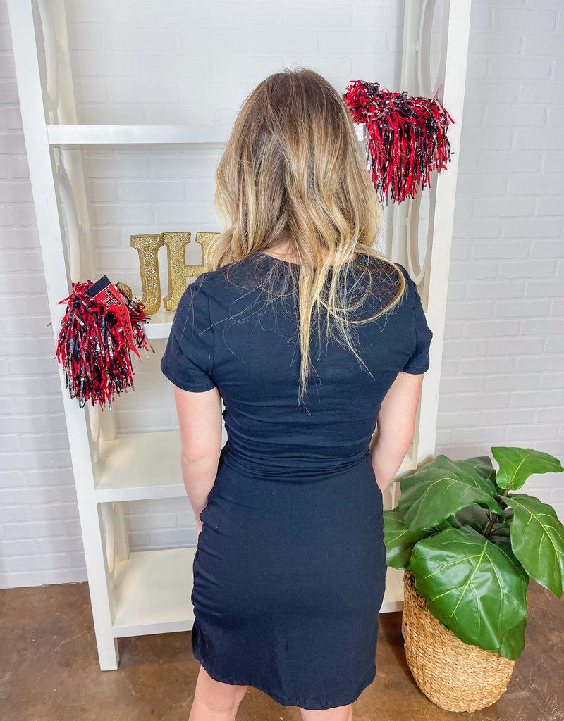 LE LIS Alexia Front Twist Dress
