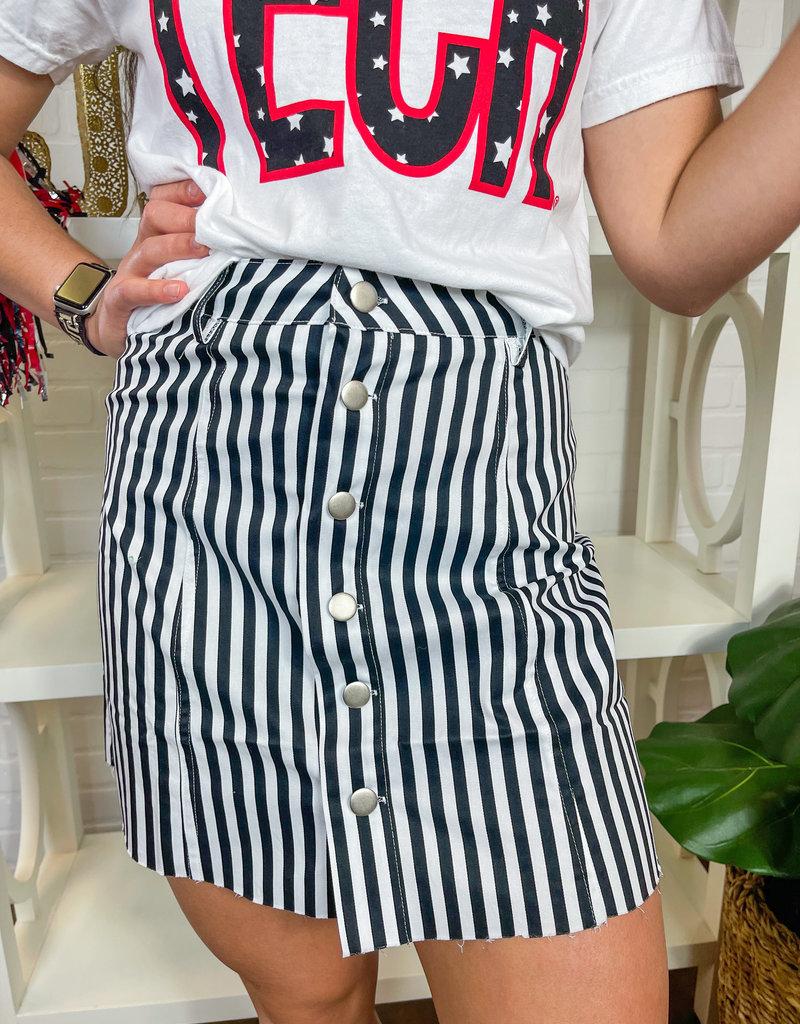 KARLIE It's Black & White Button Skirt