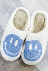 MISS SPARKLING Smiley Face Fuzzy Slippers
