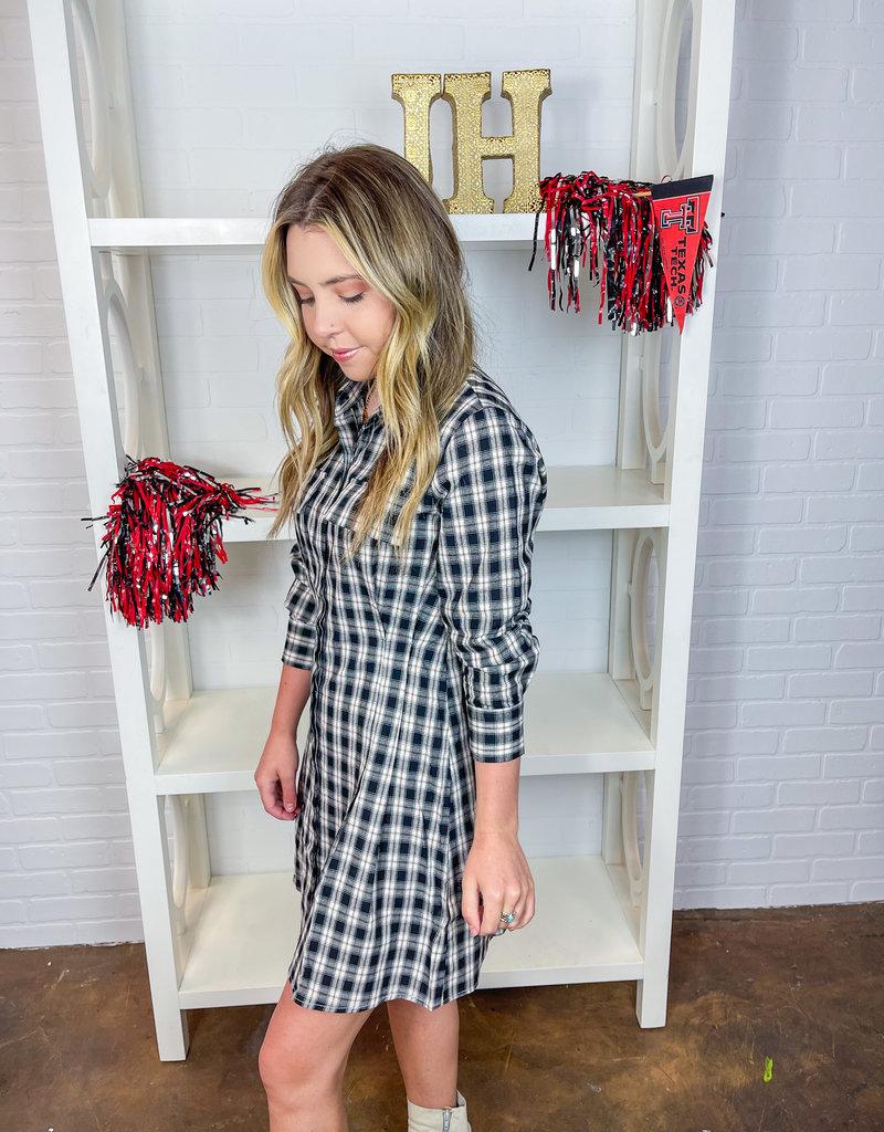 LE LIS Pleated & Plaid Shirt Dress