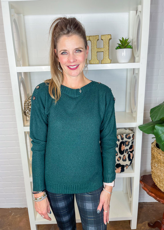 STACCATO Ellery Button Shoulder Boat Neck Sweater
