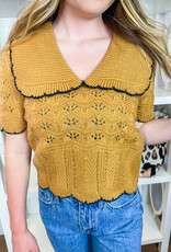 ENDLESS ROSE Scalloped Knit Top