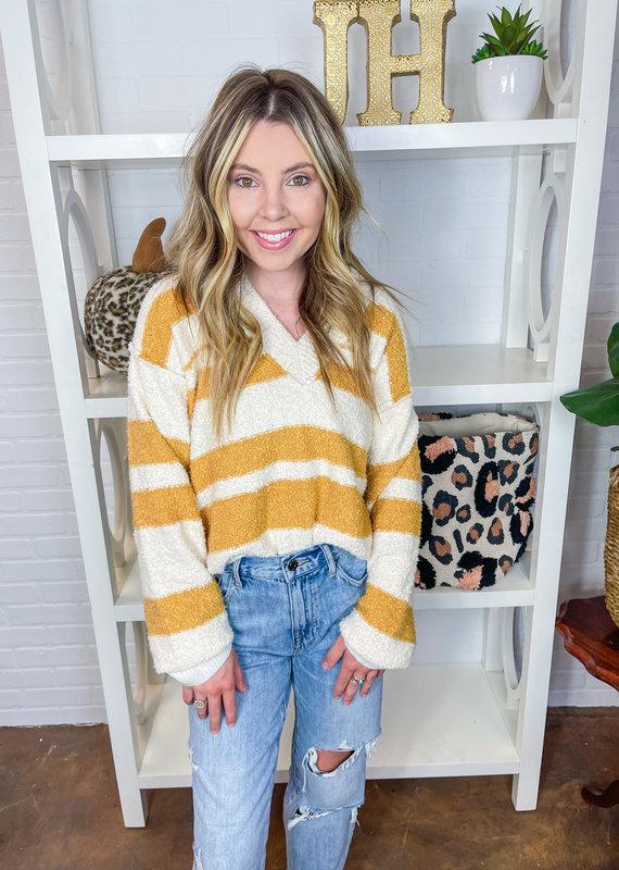 BAEVELY Anise Stripe V Sweater