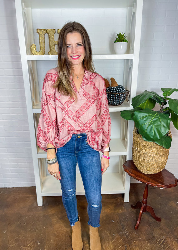 IVY JANE Embroidered Popover Top